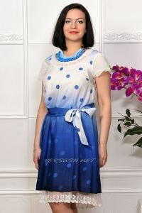 Платье в крупный горох с отделкой кружевом