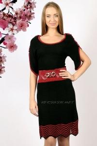 Платье контрастное трикотажное с ремнем