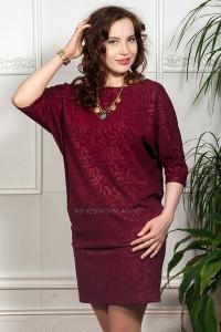 Платье из жаккардового трикотажа цвета бордо