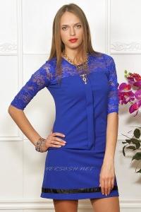 Платье комбинированное с гипюром. Цвет синий IM-Арт.1491