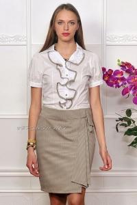 Платье офисное с бежевой юбкой IM-Арт.1096